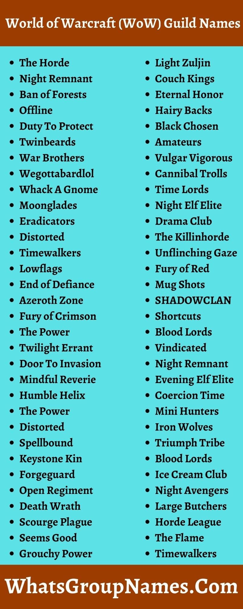 World of Warcraft (WoW) Guild Names